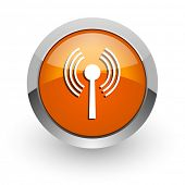 wifi orange glossy web icon