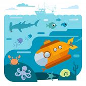 Flat vector illustration of underwater sea life. Illustration of submarine diving and exploring sea