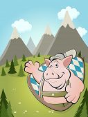 funny cartoon pig with idyllic background
