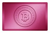 picture of bronze silver gold platinum  - Pink colored metal texture with bitcoin logo stamp on it and clipping path for white removal - JPG