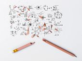 Broken Pencil with drawing graph on white paper