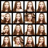 Collage Of Beauty Face Woman. Beautiful Of Young Girl Smile