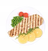 stock photo of pangasius  - Pangasius fillet on plate - JPG