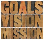 goals, vision and mission - isolated word abstract in letterpress wood type printing blocks