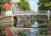 Постер, плакат: White Bridge In Delft Netherlands
