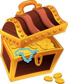 Golden coffer with treasure, full of coins.