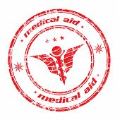Medical aid grunge rubber stamp