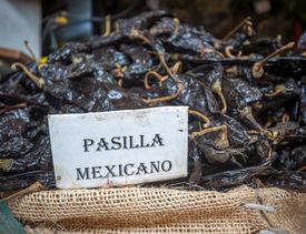 stock photo of pasilla chili  - Highly detailed image of Pasilla chili in Oaxaca market Mexico - JPG