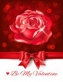 Valentines Day sparkling background with rose. Vector eps 10.