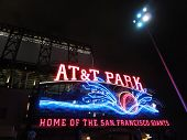 At&t Park - Home Of The Giants - Neon Sign At Night With Visual Of Baseball Splashing Into The Water