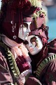 Hugging Couple Of Masks At The Carnival Of Venice