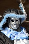 Black And Blue Lordling Mask At The Carnival Of Venice