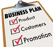Business Plan words on a checklist on a clipboard with check mark and boxes for product, customers and promotion strategy for planning and preparation for laucnh