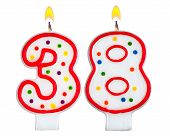 Birthday Candles Number Thirty Eight