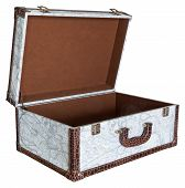Open Empty Vintage Suitcase Isolated