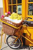 Bike with wicker basket.