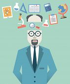 Vector Picture Of Scientist With Science Symbols. Flat Style Design