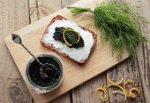 Bread with caviar for appetizer