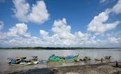 Boats Unloading At Lay Myo River, Myanmar