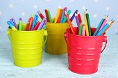 stock photo of marker pen  - Three plastic cups with different pens - JPG