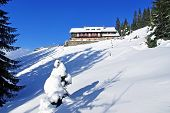 image of chalet  - Winter at mountain chalet Ceahlau mountain in Carpathians - JPG