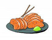 Salmon Sashimi Cartoon Illustration