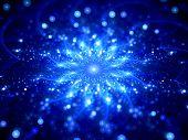 Blue Glowing Star Shape In Space