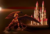 picture of dragon  - Powerful dragon in front of the castle magic fairytale - JPG