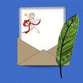 Love letter fancy feather pen, paper, envelope
