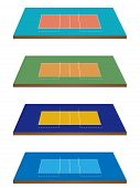 Volleyball Courts 3D Perspective