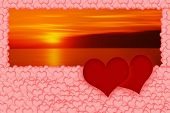 Two Red Hearts On Romantic Blurred Sunset Background