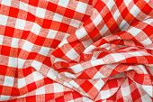 Red And White Wrinkled Checkered Tablecloth