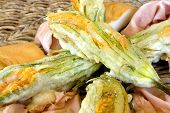 Plate With Fried Zucchini Flowers