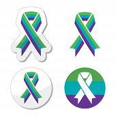 pic of sick kidney  - Vector icons set of purple - JPG