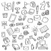 Sketch Of Business Symbol And Office Supplies