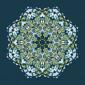 Vector islamic arabesque mandala design in shades of blue color. Stylized oriental abstract art.