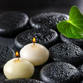 Beautiful Spa Concept Of Green Leaf Calla Lily And Candles On Zen Basalt Stones With Drops, Closeup