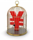 Gold Cage with Yen (clipping path included)
