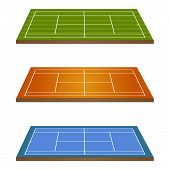 Tennis Courts 3D Perspective
