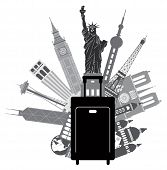 stock photo of statue liberty  - Luggage for World Travel with Iconic Places Like Big Ben Statue of Liberty Eiffel Tower Hong Kong Shanghai New York London Paris United States Seattle San Francisco Grayscale Illustration - JPG