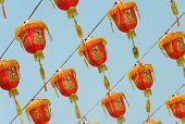 Chinese Red Lanterns Hanging On Blue Sky