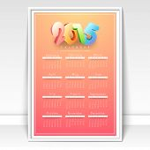 Yearly calendar with colorful 3D text 2015 for Happy New Year celebration.