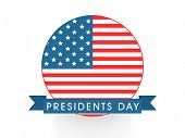 Sticker, badge or label design for American Presidents Day celebration on white background.
