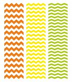 Tile chevron vector pattern set with green, yellow and red zig zag on white background