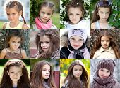 Collage portrait of a beautiful young girl, the time period from 6 years to 9 years