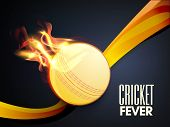 Cricket Fever concept with ball in flame and waves on blue background.