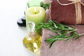 stock photo of massage oil  - Branches of rosemary and sea salt - JPG