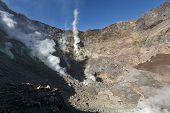 Fumarole, Sulfur Field In Active Crater Mutnovsky Volcano