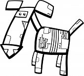 Robot Dog Cartoon Coloring Page