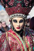 Masked Woman With Flashy Hat At The Carnival Of Venice